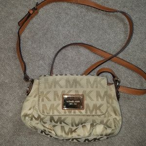 Michael Kors Mini monogram crossbody beige purse